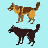 Alsatian Dog Silhouette Isolated. German Sheepdog Royalty Free Stock Photography