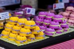 Traditional alsatian gugelhupf on bakery. Traditional alsatian colorful gugelhupf on bakery stock images