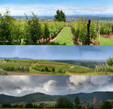 Alsatian landscapes and skies. Three panoramic views of the Alsatian region in France. Alsace is well known for its production of white wine that vineyards cover royalty free stock photo