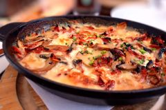 Alsatian rosti dish. Traditional Alsatian rosti, an oven baked potato and cheese dish royalty free stock photography