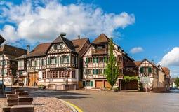Alsatian style houses in Kintzheim, Alsace, France. Alsatian style houses in Kintzheim - Alsace, France stock photo