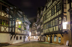 Alsatian style houses in Petite France area of Strasbourg.  Stock Photos