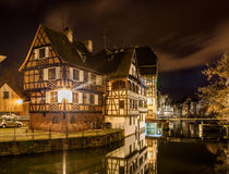 Alsatian style houses in Petite France area of Strasbourg.  Stock Photo