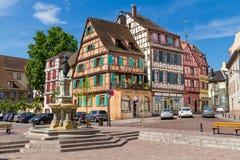 Alsaziano pittoresco del villaggio di Colmar, Francia Fotografie Stock