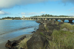 Alsea Bay Bridge And Rock Jetty Stock Images
