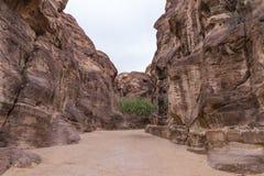 AlSiq -导致通过红石墙壁的峡谷Petra - Nabatean王国的资本在旱谷芭蕉科市在约旦 库存图片
