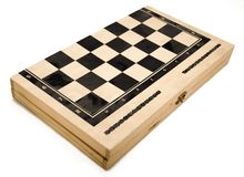Isolated Backgammon Box - Closed. Also Checkers box and Chess compatible Stock Photos
