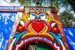 Mexico City, Mexico - October 26, 2018. Entrance to Frida Kahlo Museum in Coyoacan Quarter royalty free stock photos