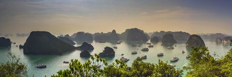 Ha Long Bay, Vietnam. South East Asia. Also named Guilin on the sea, ha long bay sunrise, the beautiful morning mist. Mang ships crusie on the sea stock image