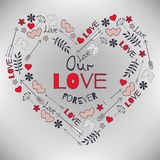 Valentine`s Day greeting card with big heart and elements arrow. Also perfect for spring or summer invitation, Valentine, wedding, birthday greeting cards Stock Images