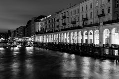 The Alster Arcades in monochrome Stock Image