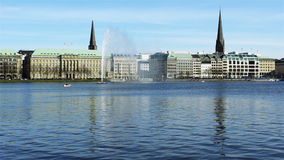 Alster fountain in spring stock footage