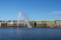 Alster fountain view Royalty Free Stock Photography