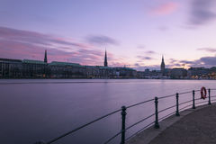 Alster in Hamburg. Alster background blurred colored sky Royalty Free Stock Photos