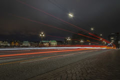 Alster in Hamburg. Blurred lights of cars at the Alster Stock Photo