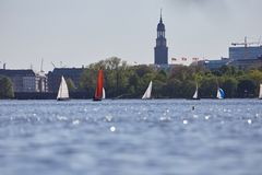 The Alster in Hamburg with the Michel in the background stock image