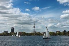 Alster jezioro, Hamburg, Niemcy Obrazy Royalty Free