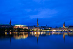 Alster Lake, Hamburg. Alster Lake and Downtown Hamburg Royalty Free Stock Photo