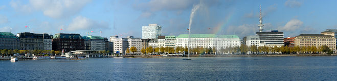 Alster lake, Hamburg. Panorama of the Alster lake with fountain in Hamburg, Germany royalty free stock photos