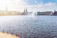 Alster lake in Hamburg on sunny day Royalty Free Stock Photo