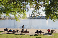 Alster Lakeside Stock Photography