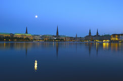 Alster at night Royalty Free Stock Image