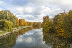 Alster river at Hamburg in autumn royalty free stock photography