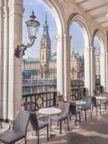 Alsterarkaden on Lake Kleine Alster in Hamburg, vertical view of historic Hamburg town hall Stock Photos