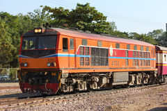 Alsthom Diesel locomotive no.4102. CHIANGMAI, THAILAND- FEBRUARY 5 2014: Alsthom Diesel locomotive no.4102 and train no.52 from chiangmai to bangkok. Photo at Royalty Free Stock Images