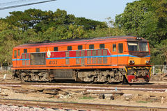 Alsthom Diesel locomotive no.4102. CHIANGMAI, THAILAND- FEBRUARY 5 2014: Alsthom Diesel locomotive no.4102 and train no.52 from chiangmai to bangkok. Photo at Stock Photos