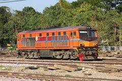 Alsthom Diesel locomotive no.4102. CHIANGMAI, THAILAND- FEBRUARY 5 2014: Alsthom Diesel locomotive no.4102 and train no.52 from chiangmai to bangkok. Photo at Royalty Free Stock Image