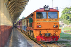 Alsthom Diesel locomotive no 4211. CHIANGMAI, THAILAND -JANUARY 16 2013: Alsthom Diesel locomotive no 4211. For train no 14 from chiangmai to bangkok. Photo at Stock Image