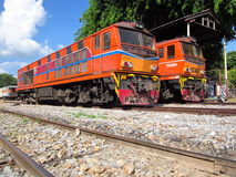 Alsthom locomotive. Chiangmai railway station, end of north route of thailand rail network Stock Images