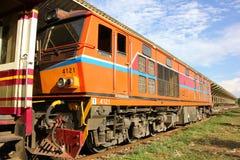 Alsthom locomotive no.4121. CHIANG MAI, THAILAND - MAY 15 2013: Alsthom locomotive no.4121 at chiangmai railway station, thailand Royalty Free Stock Images
