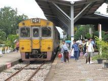 Alsthom Locomotive No. 4214  And Train No52. LAM PHUN , THAILAND - JUNE  29 2007: Alsthom Locomotive No. 4214  And Train No52. Train from Chiangmai to Bangkok Stock Photography