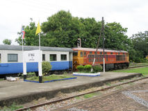 Alsthom Locomotive No. 4214  And Train No52. LAM PHUN , THAILAND - JUNE  29 2007: Alsthom Locomotive No. 4214  And Train No52. Train from Chiangmai to Bangkok Stock Images