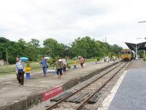 Alsthom Locomotive No. 4214  And Train No52. LAM PHUN , THAILAND - JUNE  29 2007: Alsthom Locomotive No. 4214  And Train No52. Train from Chiangmai to Bangkok Royalty Free Stock Images