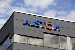 Alstom active in the field of energy and transport. Amsterdam, Netherlands-august 8, 2016: facade of alstom, Alstom is a multinational company which is mainly Royalty Free Stock Image