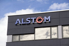 Alstom active in the field of energy and transport. Amsterdam, Netherlands-august 8, 2016: facade of alstom, Alstom is a multinational company which is mainly Royalty Free Stock Photography
