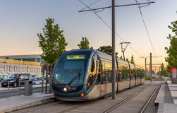 Alstom Citadis 302 tram at Palais des Congres station in Bordeaux, France. Bordeaux tram system has 66 km of lines and Royalty Free Stock Photography