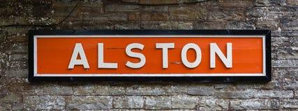 Alston Railway Destination Sign Immagini Stock Libere da Diritti