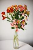 Alstroemeria blommar i vas Arkivfoto