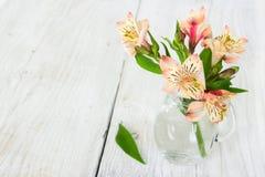 Alstroemeria del fiore in un vaso di vetro Immagini Stock Libere da Diritti