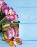 Alstroemeria flower macaron bunch box on dessert blue wooden bake. Alstroemeria flower macaron biscuit bake on blue wooden dessert box bunch Royalty Free Stock Photo