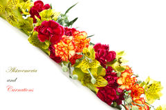 Alstroemeria and red carnations Royalty Free Stock Photo