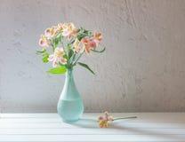 Alstroemeria in vase on  white background. Alstroemeria in vase on grunge white background Royalty Free Stock Photos