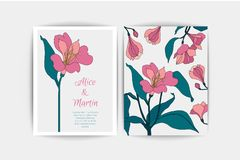 Alstroemeria wedding invitation card. Vector composition of pink flowers illustration. Save the date. Floral alstromeria. Alstroemeria wedding invitation card Stock Image