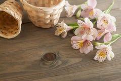 Alstromeria rosa fiorisce Straw Baskets floreale sul bordo floreale rustico del fondo di legno Copi lo spazio Fotografia Stock