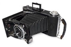 Alt, antik, schwarz, Pocketkamera, Kamera vorbildliches Agfa Billy Record Lizenzfreies Stockbild