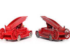 Alt gegen neues: Spielzeugauto Denis-Löschfahrzeug #2 Stockfotos